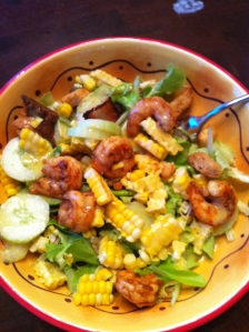 Summer Salad with Shrimp, Corn, Arugula, Cukes