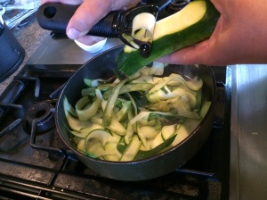 And simple peel the zucchini.... go as far as the seeds